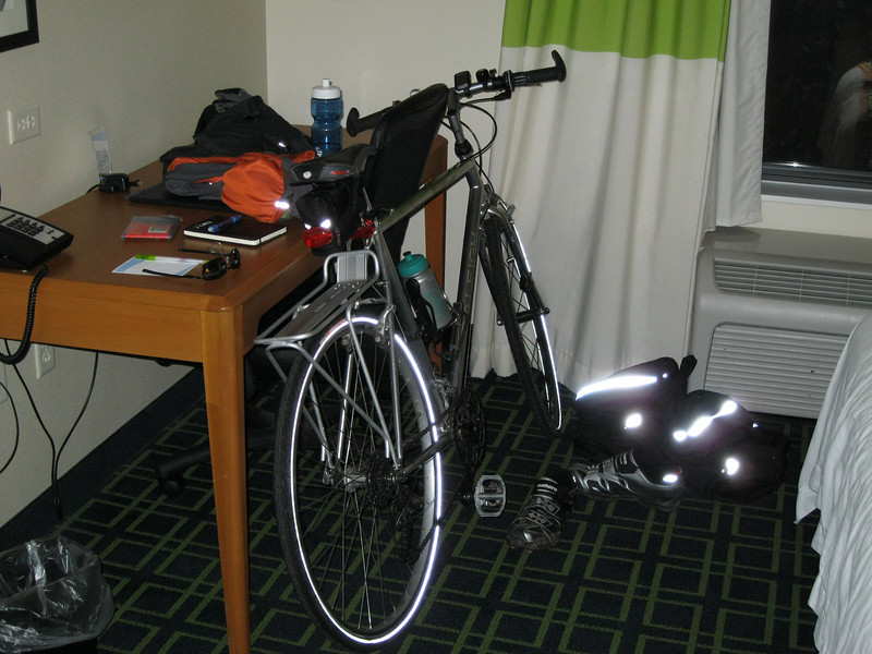 My trusty ride all snug and warm in the hotel room, waiting for the trials and trails to come.