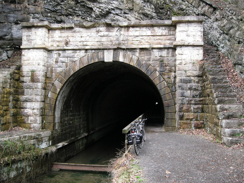 The Paw Paw tunnel is over 3000 feet long. No lighting and a 5 foot wide towpath meant walking our bikes through.