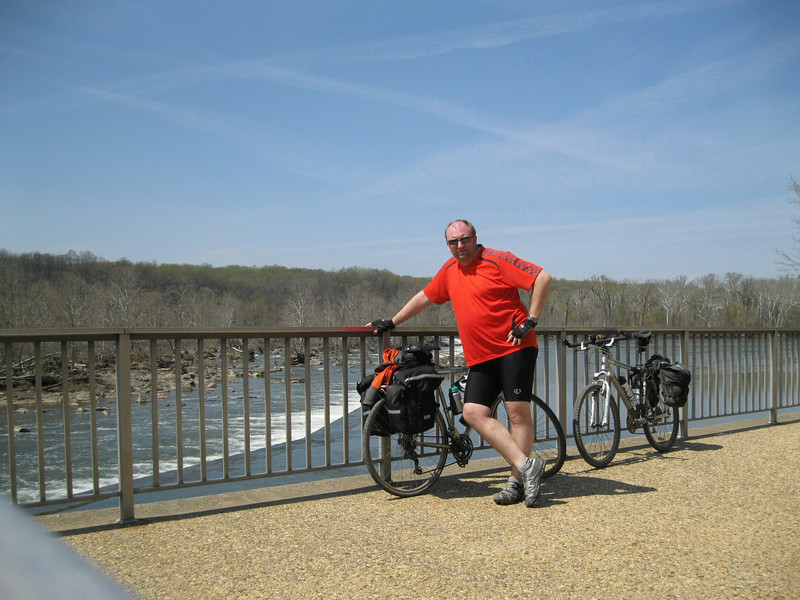 It was getting warm on day three. Here I enjoy the sun at Great Falls