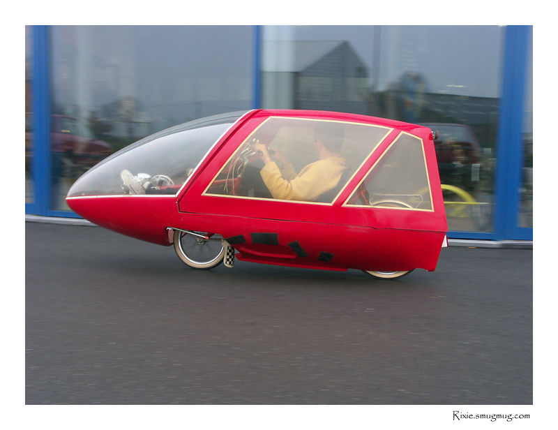 The Belgian Velerique, a two-wheeled velomobile ahead of its time, build in the 1980ties. This one is owned by Tim.be<br /> Although nice to look at, we found it hard to get into, very noisy and perhaps the most terrible handling bicycle I ever rode (no stiffness in the frame).