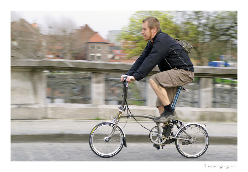 Ti Brompton. Rides very well and folds very small in only 10 seconds (30s if not in a hurry ;-).