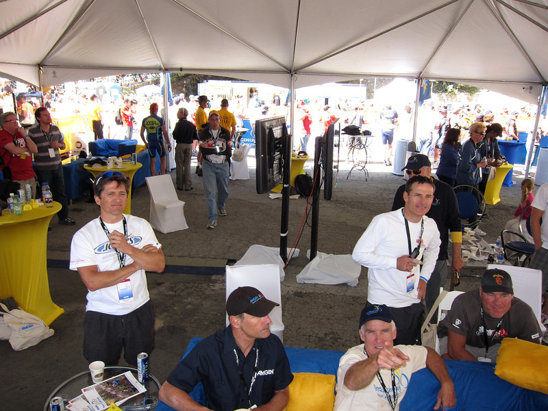 Inside the VIP Tent at the top/finish of Mt. Baldy