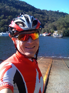 On the way home from Pitt Town; Berowra Waters Ferry. 83km down, 40km more to go! - July 2012