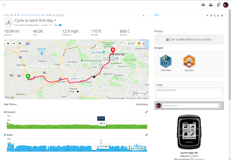 New house, new commute - 6th July 2018.    Only snag was I didn't have time to get my Early Riser coffee....