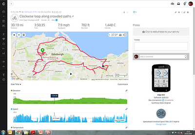 Sunday 4th February 2018 - the average speed is including stops, and average moving speed is 8.7 mph (which is still poor, but much of the route was busy).   New Garmin - still getting the hang of it....