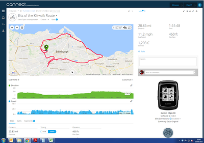 Slow speed from Ravelston Dykes to Craigleith as I was caught up in the Kiltwalk - and then had the cheek to follow the route several times later on.  Ian Rankin and Jackie Bird spotted (separately...) during the spin.