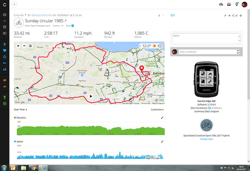 Clockwise circular with a Dalmeny House detour - how close was I to 2000 calories?