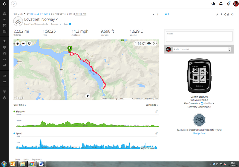 Couple of dodgy readings but the average speed and distance all good... Loen, Norway
