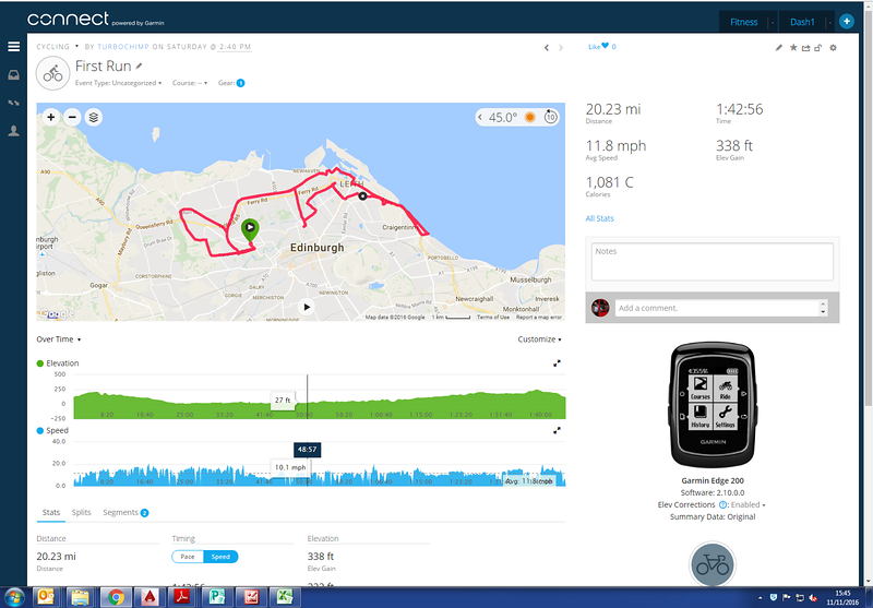 First run with the new bike - good early pace held back by strong headwind along the front at Portobello.   Slightly narrower tyres so taking it a bit easy at times in areas where there were leaves on the path....