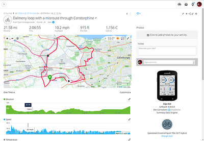 4th November 2018 - lost the John Muir Way somewhere in Clermiston but recovered it.   Max speed 32mph down the hill towards Newbridge