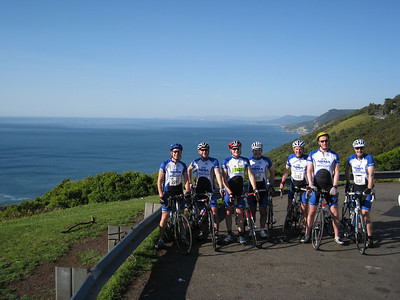 The IAG Team Approaching Stanwell Tops - Sea Cliff Bridge in Background: (Left) Sean Buckley, Geoff Bell, David WInton, Andy Haddon, Rick Calleija, Mark Jarvis, Neil Hoggard (Right)