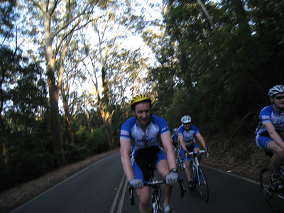 """The IAG Peleton"" - Mark Jarvis (right), Geoff Bell (left) and Neil Hoggard (centre), Royal National Park"