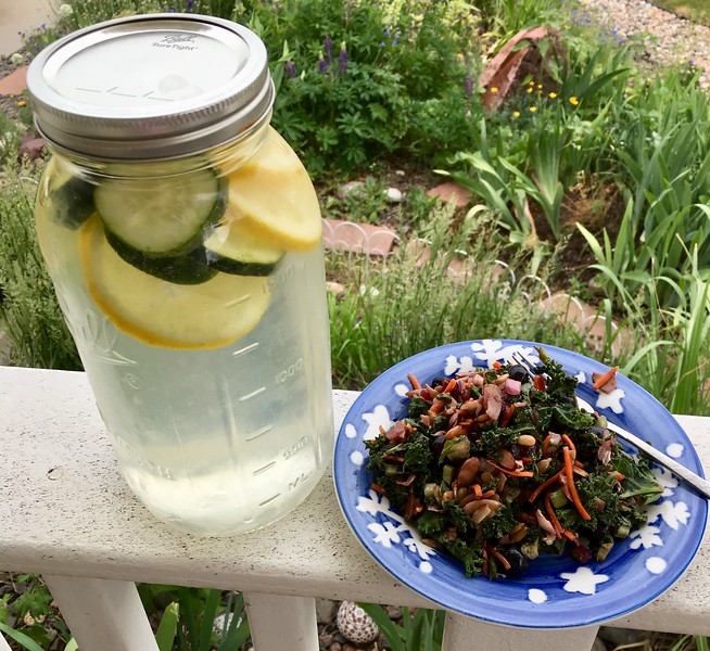 Ice Cold Lemon/Cucumber-Infused Water with Superfood Salad
