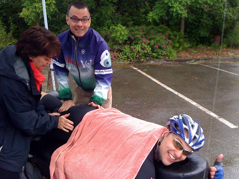 """Rob getting """"fixed"""". No more stretching mid-race Rob..."""