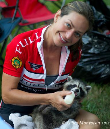 Kari feeding one of our mascots!
