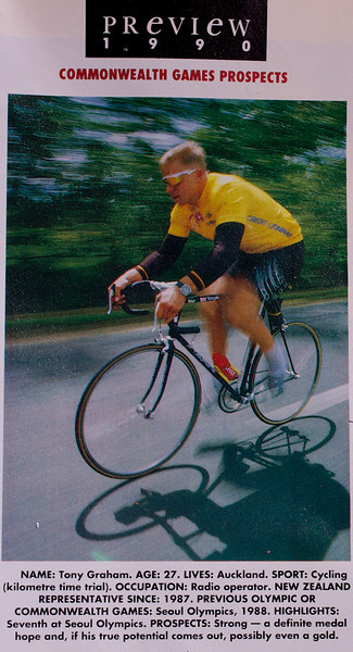 Doing a few 'ride bys' for a magazine insert for a NZ Sunday Newspaper featuring 1990 Commonwealth Games Prospects.