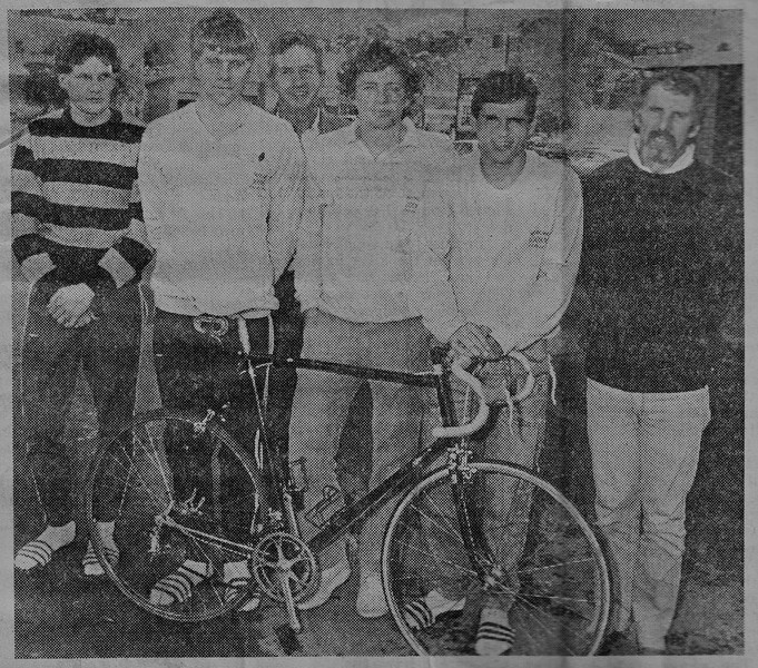 Newcastle Fri 16 Aug 1985<br /> <br /> My first overseas trip and my first overseas trip for cycling and by some coincidence my bike being used as the prop. Reading my diary for this day I see I was very sick and hadn't eaten for 24 hours and I visited the doctor on our arrival in Newcastle (after our drive up from Sydney.) I had some kind of stomach bug, although I read my own notes and see I finished 7th or 8th in the 67km Criterium (a road race around city streets) the following day. The three of us in the plain coloured tops all ended up riding for New Zealand at the Olympic Games, Commonwealth Games, and World Championships at various times in our careers, thanks to our couch behind my shoulder (and a little bit of hard work on our own parts too.)<br /> <br /> From a newspaper article in the Newcastle daily newspaper dated Sat 17 Aug 1985 (the day of publication, but the actual photo was taken the day before.)<br /> <br /> Not the best scan, I might experiment at some stage to see if it photographs better than it scans?