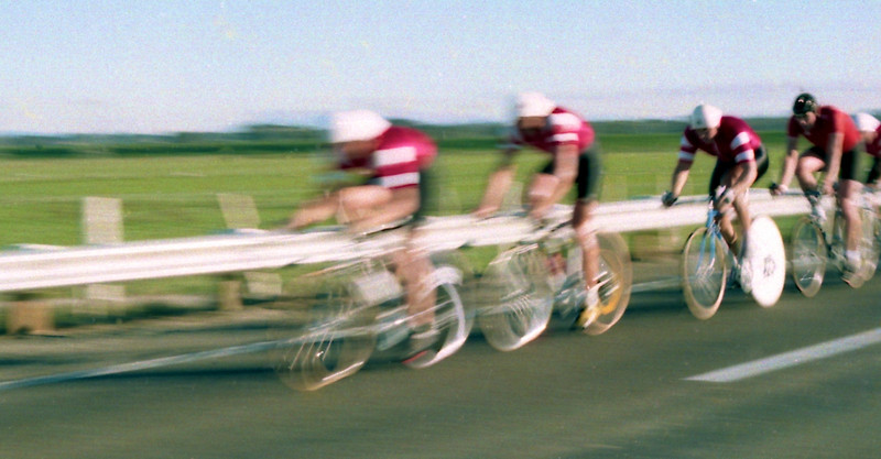 Blurred Cyclists approaching Foxton Bridge 1989<br /> <br /> Another blurred scan from a negative I didn't know I had until yesterday.<br /> <br /> Another reject or dud photo, but ironically because of the unintentional blurring looks quite good/fun/interesting, and worth keeping. And like the blurred photo I posted yesterday, I am in (semi) good focus (the third cyclist in line.)