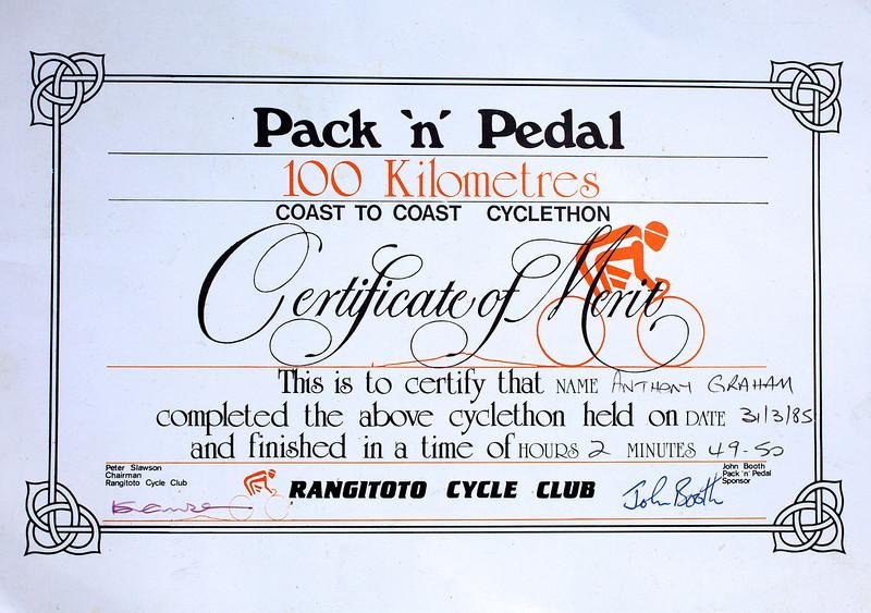 Pack n Pedal 100 Kilometres Certificate Mar 1985 056