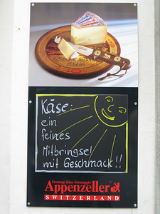 famous Appenzell: already outside this cheese shop the smell was quite strong