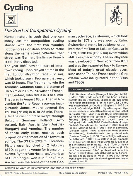 Start of Competitive Cycling Rear