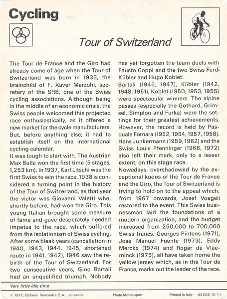 Tour of Switzerland Back