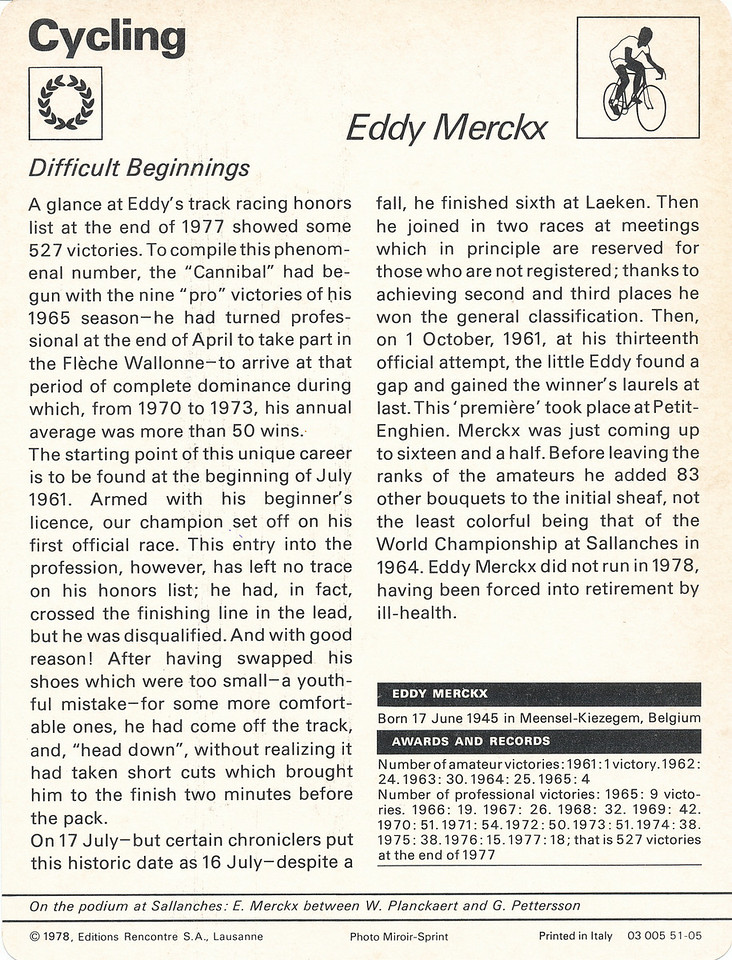 Eddy Merckx 3 Back