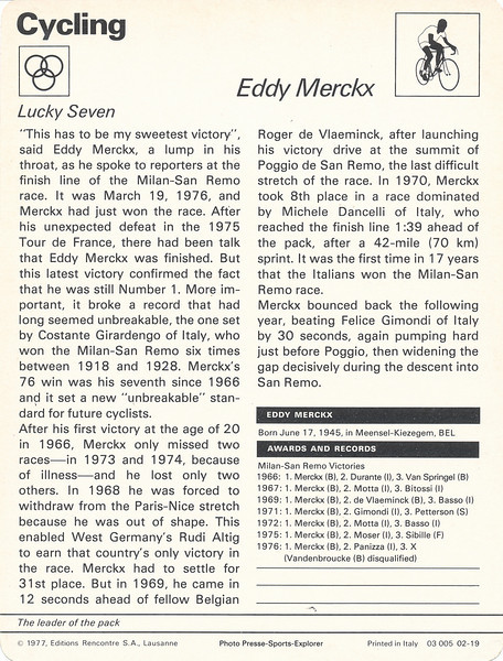 Eddy Merckx Back