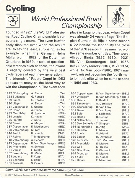 World Road Championship Back