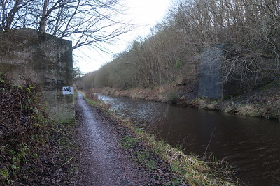 Bridge abutments Philpstoun Oil Works mineral railway over Union Canal