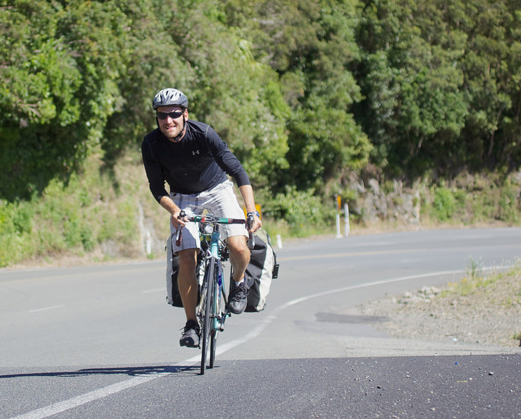 """Thomas nearing his way to the top of the Rimutaka Hill climb midway between Upper Hutt and Featherston.<br /> <br /> Thomas left Copenhagen in late 2010 and is half way to achieving his goal of cycling the globe and is presently heading to Auckland after completing the South Island portion of his trip.<br /> <br /> See  <a href=""""http://www.cyclingtheglobe.com"""">http://www.cyclingtheglobe.com</a>"""