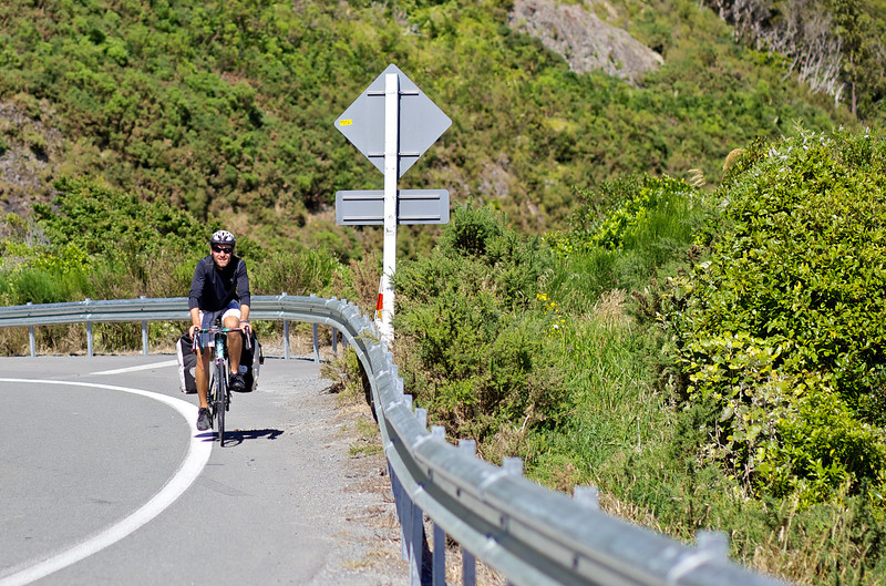 """Thomas just about to hit the top top of the Rimutaka Hill climb midway between Upper Hutt and Featherston.<br /> <br /> Thomas left Copenhagen in late 2010 and is half way to achieving his goal of cycling the globe and is presently heading to Auckland after completing the South Island portion of his trip.<br /> <br /> See  <a href=""""http://www.cyclingtheglobe.com"""">http://www.cyclingtheglobe.com</a>"""