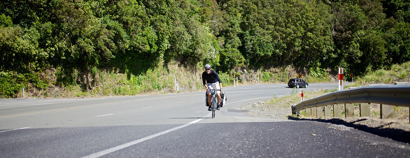 """Thomas working his way to the top of the Rimutaka Hill climb midway between Upper Hutt and Featherston.<br /> <br /> Thomas left Copenhagen in late 2010 and is half way to achieving his goal of cycling the globe and is presently heading to Auckland after completing the South Island portion of his trip.<br /> <br /> See  <a href=""""http://www.cyclingtheglobe.com"""">http://www.cyclingtheglobe.com</a>"""