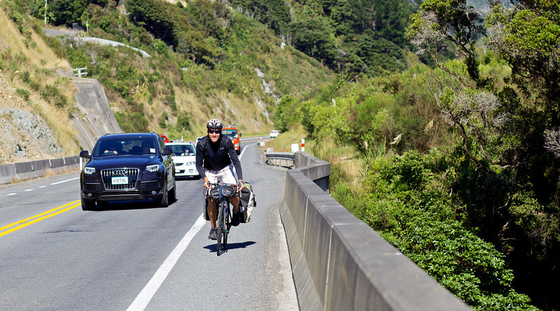 """Thomas Andersen climbing out of Upper Hutt on his ride to Auckland. <br /> <br /> Thomas left Copenhagen in late 2010 and is half way to achieving his goal of cycling the globe.<br /> <br /> See  <a href=""""http://www.cyclingtheglobe.com"""">http://www.cyclingtheglobe.com</a>"""
