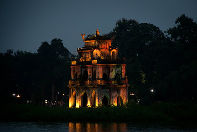 Thap Rua (turtle) Pagoda in Hoan Kiem Lake, symbol of the city of Hanoi