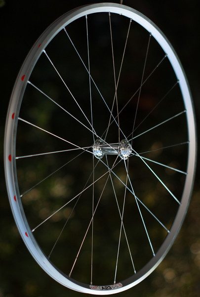 White Industries H3 hub<br /> Velocity A23 rim<br /> Sapim Laser spokes<br /> alloy nipples