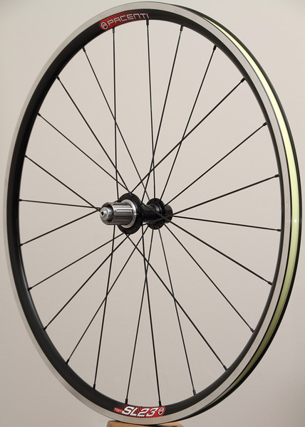 White Industries T11 hubs<br /> Pacenti SL23 rims<br /> Sapim CX-Ray/CX-Speed spokes<br /> alloy nipples<br /> two layers of Stan's yellow tape<br /> 842g total