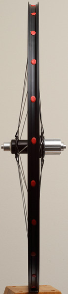 Alchemy hub<br /> Velocity A23 rim (made in Florida)<br /> Sapim CX-Ray spokes with Sapim CX-Speed for the right, rear<br /> alloy nipples<br /> 24 spokes 2 cross pattern