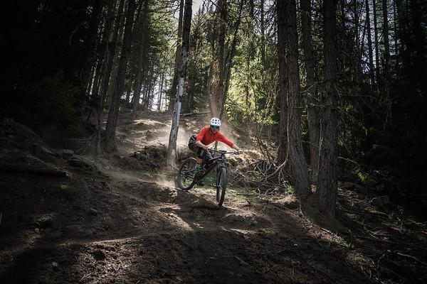 Dave Searle riding above Cretaz, Cogne