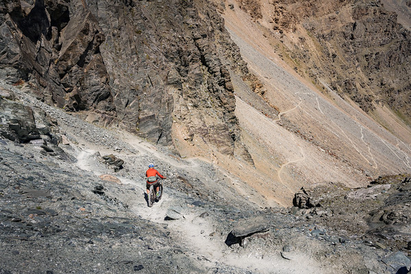 Dave Searle riding from Col du Lauson, Gran Paradiso, Italy