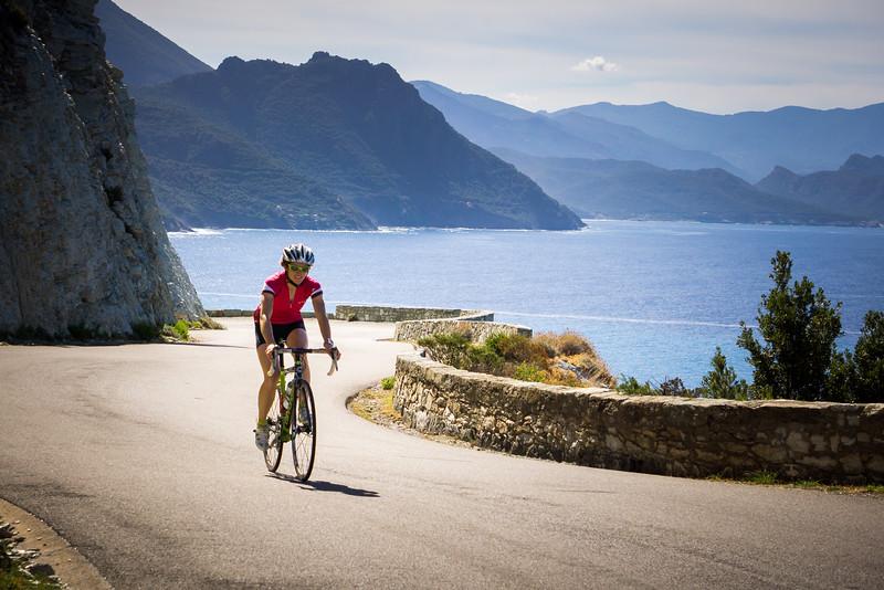 Valentine Fabre riding near Nonza, Cap Corse, Corsica, France