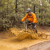Playing in the mud puddle.  Cycling in Plumas County, California in January after a rain.