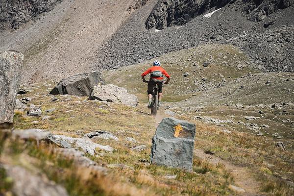 Dave Searle riding below Colle della Rossa, Cogne