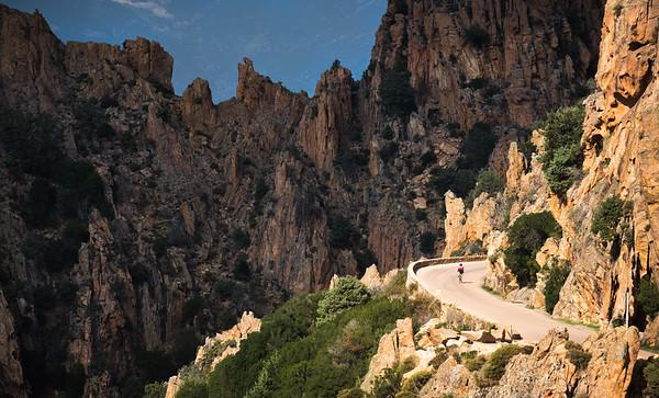 Valentine Fabre riding through the Calanques de Piana, UNESCO site on the west of Corsica, France