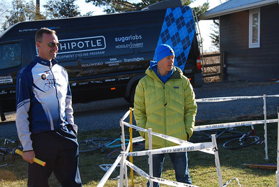 The Garmin Cervelo Team sprinter van was used as the SAG Wagon.  Jim Lawrence, parent of 3 junior riders, watches the youngest riders with Tom, before the action started  @2011davidhunter