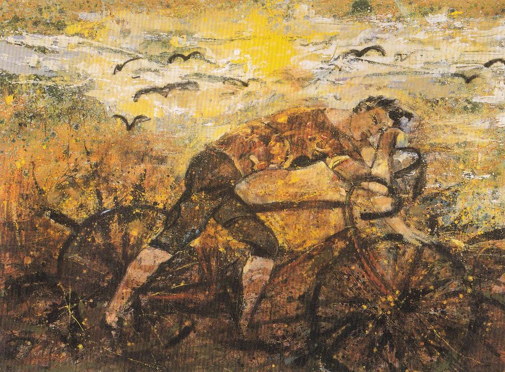 Peter McLaren, Road to Florence, Oil on Board 96 x 72 inches, De Keignaert Museum, Belgium