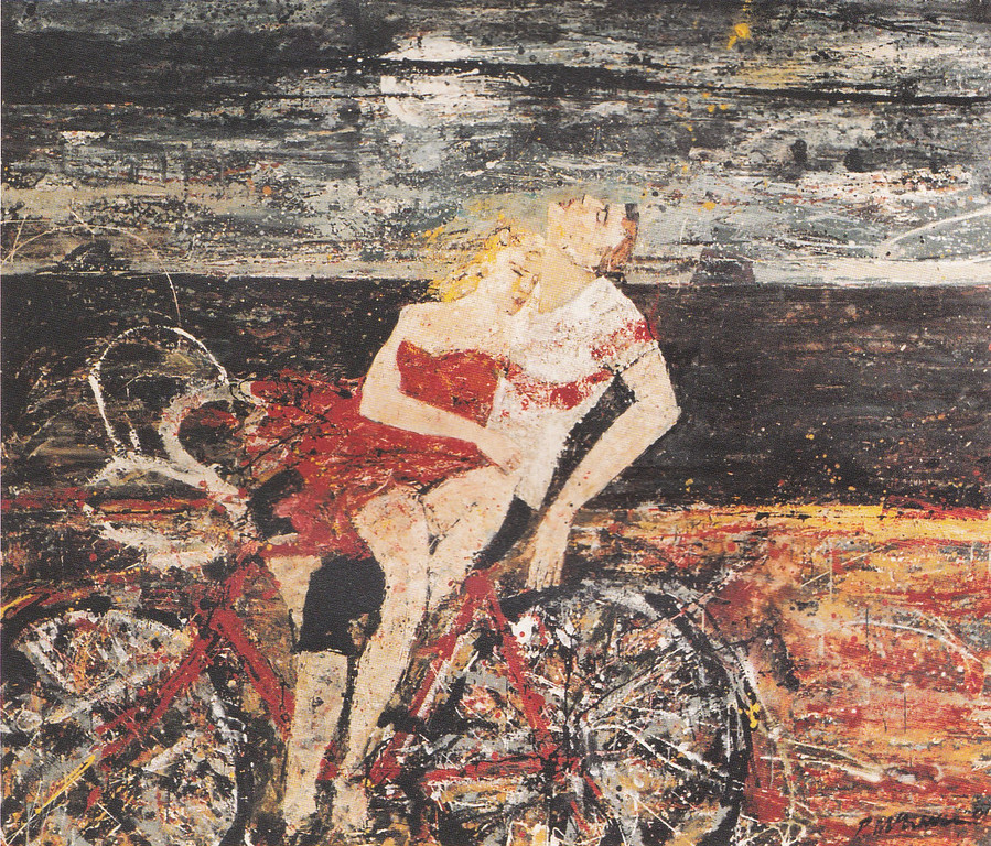 Peter McLaren, Lovers on a Bicycle, Oil on Board, 72 x 84 inches