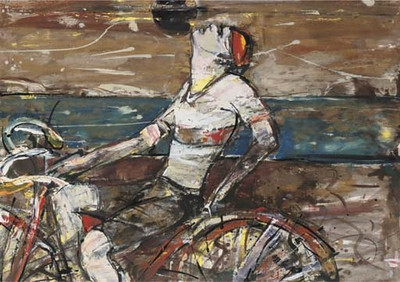 Peter McLaren, Cyclist (Eclipse II) Mixed Media on Paper, 26 x 16 inches