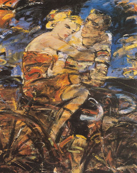 Peter McLaren, Lovers on a Bicycle, Oil on Board, 60 x 48 inches