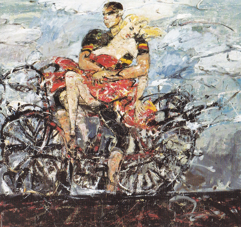 Peter McLaren, Lovers on a Bicycle, Oil on Board, 84 x 72 inches